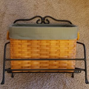 Longaberger magazine basket with stand and liner